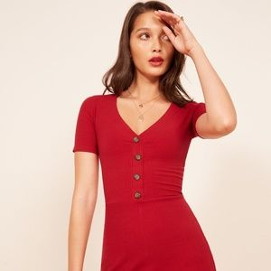Reformation Cardinal Dress Cherry Red